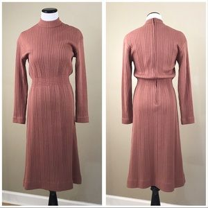Vintage 70's Mock Neck Salmon Sweater Dress